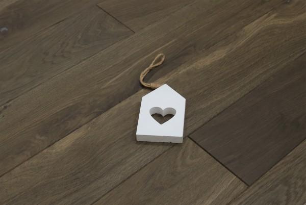 Dielenboden Räuchereiche, 20 x 140 mm, Systemlängen von 500 bis 2000 mm, kerngeräuchert, roh bzw. unbehandelte Oberfläche, massiv, Nut / Feder Verbindung