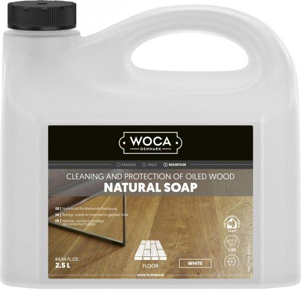 WOCA Holzbodenseife in weiß, 2,5 Liter zur regelmäßigen Reinigung weiß geölter Holzböden