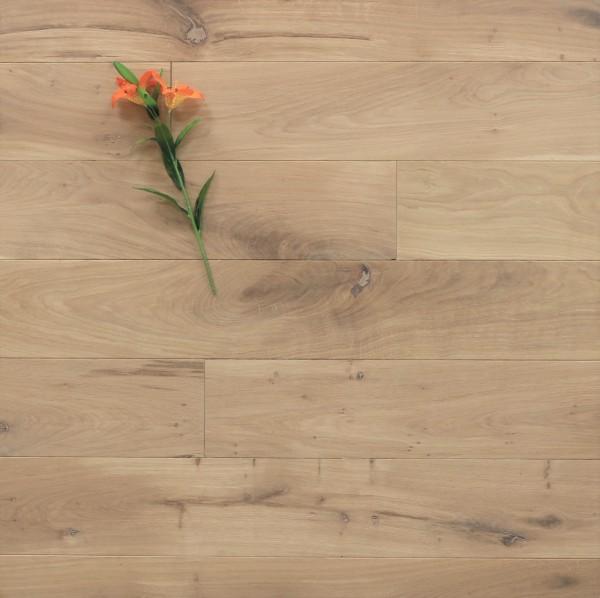 Dielenboden Eiche, 15 x 150 mm, Langdielen von 1800 bis 2200 mm, optional in Fixlänge, mit einem Naturöl weiß geölt, massiv, Nut / Feder Verbindung, Sonderanfertigung nach Kundenwunsch