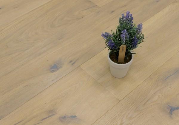 Parkettboden Eiche Schweden, 14 x 190 x 1900 mm, Markant, handgehobelt, mit einem Naturöl weiß geölt, klassische Klick Verbindung