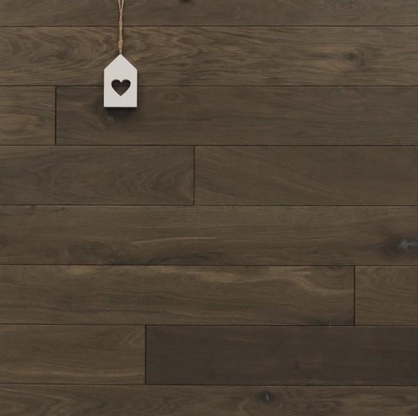 Dielenboden Räuchereiche, 15 x 130 mm, Systemlängen von 400 bis 1800 mm, kerngeräuchert, roh bzw. unbehandelte Oberfläche, massiv, Nut / Feder Verbindung