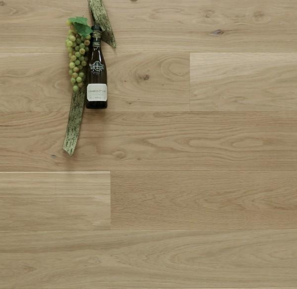 Parkettboden Eiche Chablisien aus der Serie Vinum, 14 x 180 x 2200 mm, Markant, gebürstet, noch unbehandelte Oberfläche, Soft Lock Klick Verbindung