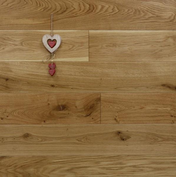 Schlossdielen Eiche, seidenmatt lackiert, aus massivem Holz, 21 x 180 / 200 mm von 2600 bis 5000 mm, Abmessungen nach Ihren Vorgaben, Kanten gefast, Nut / Feder Verbindung, Sonderanfertigung nach Kundenwunsch