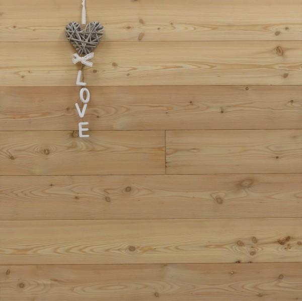 Dielenboden Lärche, 20 x 135 mm, Längen von 500 bis 4000 mm, optional in Fixlänge, Markant, massiv, Kanten gefast, Nut / Feder Verbindung