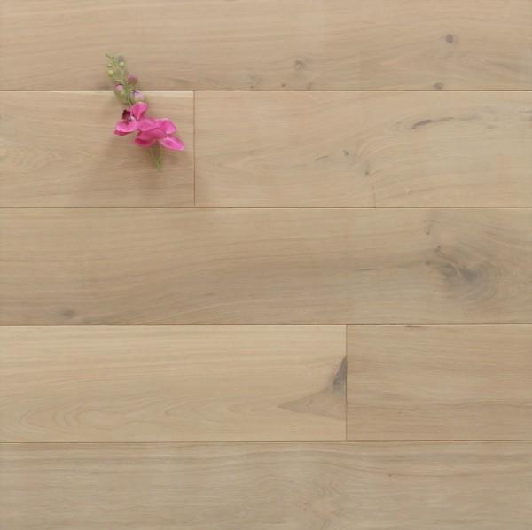 Schlossdielen Eiche, mit einem Naturöl weiß geölt, aus massivem Holz, 20 x 180 / 200 mm von 1800 bis 5100 mm, Kanten gefast, Nut / Feder Verbindung, Sonderanfertigung nach Kundenwunsch