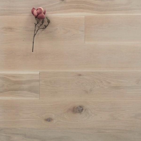 Dielenboden Eiche, 20 x 180 mm, Langdielen von 1800 bis 2200 mm, optional in Fixlänge, mit einem Naturöl weiß geölt, massiv, Nut / Feder Verbindung, Sonderanfertigung nach Kundenwunsch