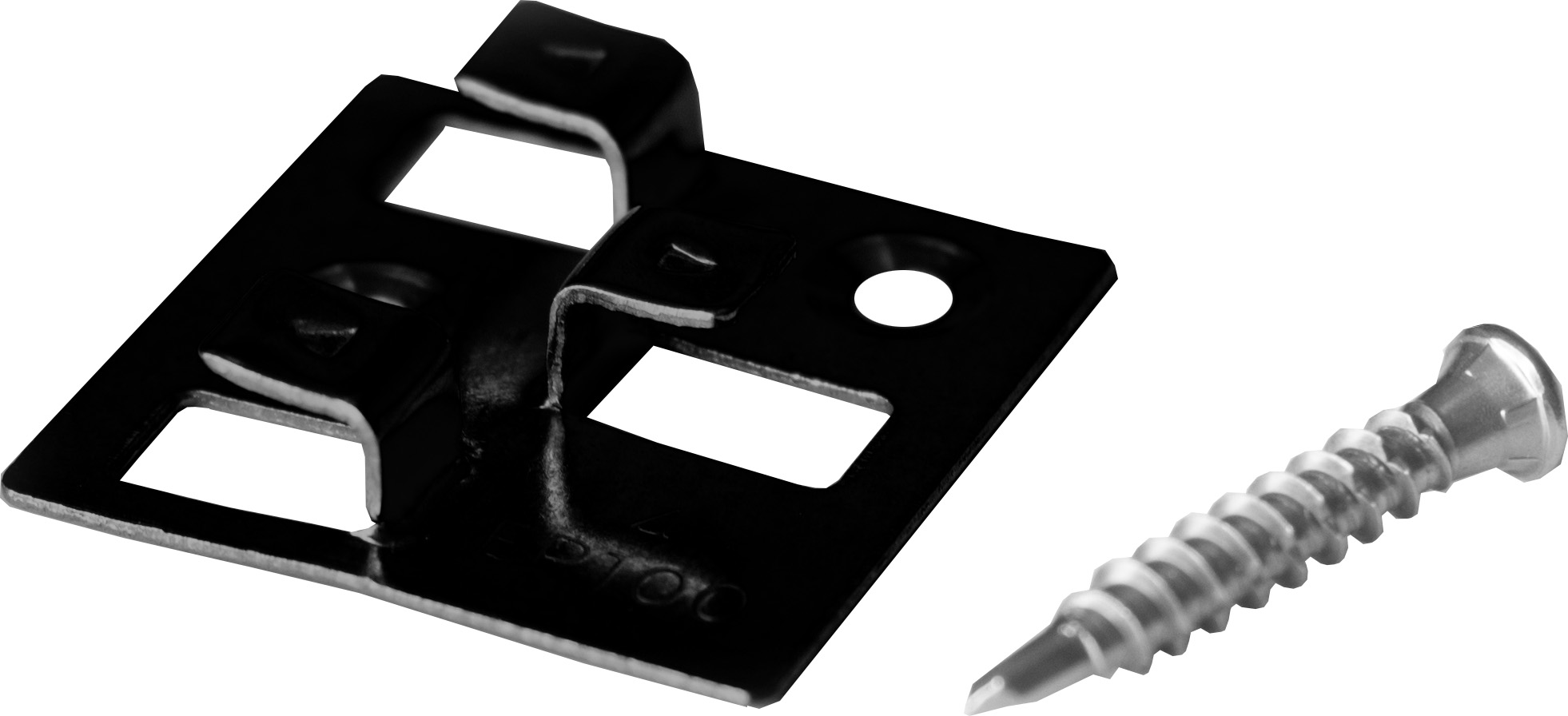 100 MEFO WPC Montage Clips mit 4 mm Fuge aus Edelstahl schwarz, inkl. selbstbohrenden Schrauben, Befestigungsmaterial reicht für ca. 35 lfm bzw. 5 m²