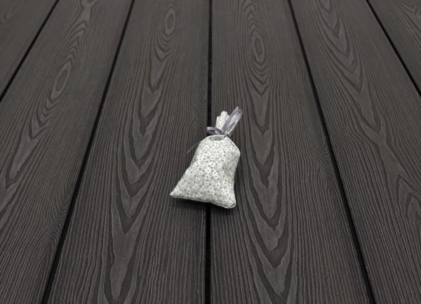 WPC Terrasse massiv, Vollprofil, 22 x 143 bis 4800 mm, Oberfläche mit 3D Struktur in Holzoptik, Farbton dunkelgrau, 7,95 €/lfm