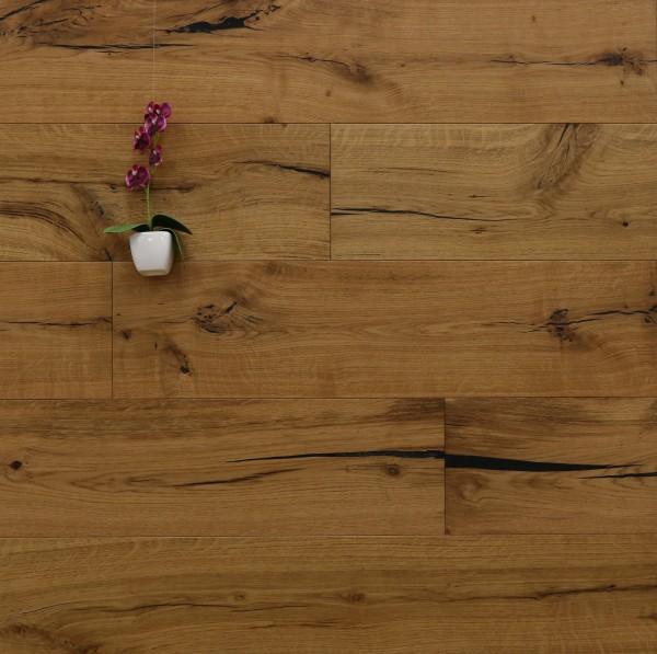 Restposten Parkettboden Eiche Beethoven aus der Serie Classic, 14 x 190 x 1900 mm, Rustikal, mit einem Naturöl geölt, Drop Down Klick Verbindung