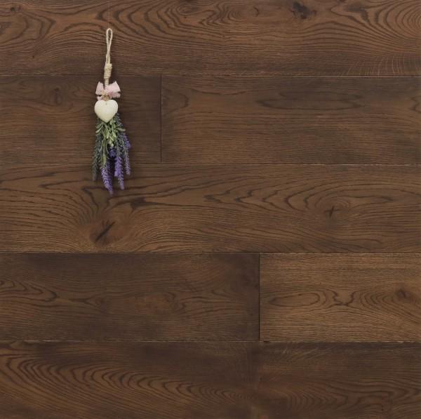 Parkettboden Eiche Bras aus der Serie Provence, 14 x 190 (220) x 1900 (2200) mm, gebürstet, mit Rubio Monocoat R306 Chocolate geölt, Välinge 5G Klick Verbindung, Sonderanfertigung nach Kundenwunsch