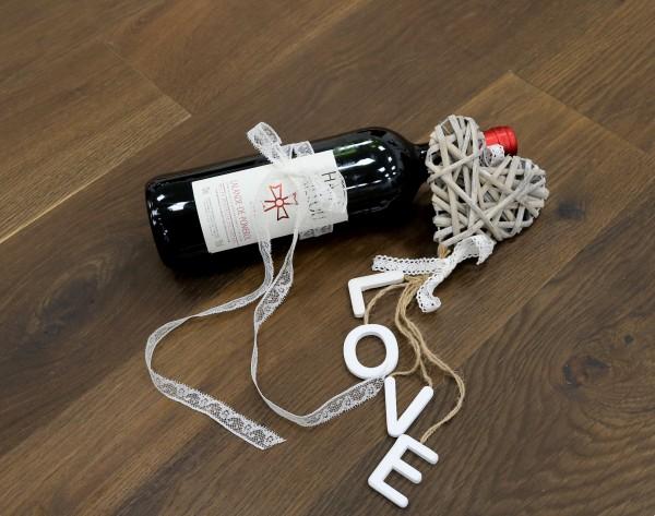 Parkettboden Räuchereiche Bordelais aus der Serie Vinum, 14 x 180 x 2200 mm, Markant, geräuchert, gebürstet, mit Masteröl geölt, Soft Lock Klick Verbindung