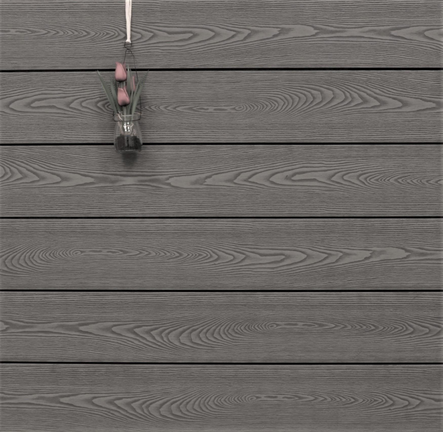 WPC Dielen massiv, Oberfläche mit Struktur in Holzoptik, Farbton grau, Vollprofil, 22 x 143 bis 4800 mm für 9,90 €/lfm