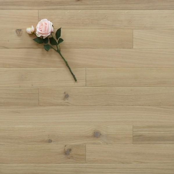 Dielenboden Eiche, 10 x 100 mm, Systemlängen von 400 bis 1200 mm, mit einem Naturöl weiß geölt, massiv, Kanten gefast, Nut / Feder Verbindung, Sonderanfertigung nach Kundenwunsch