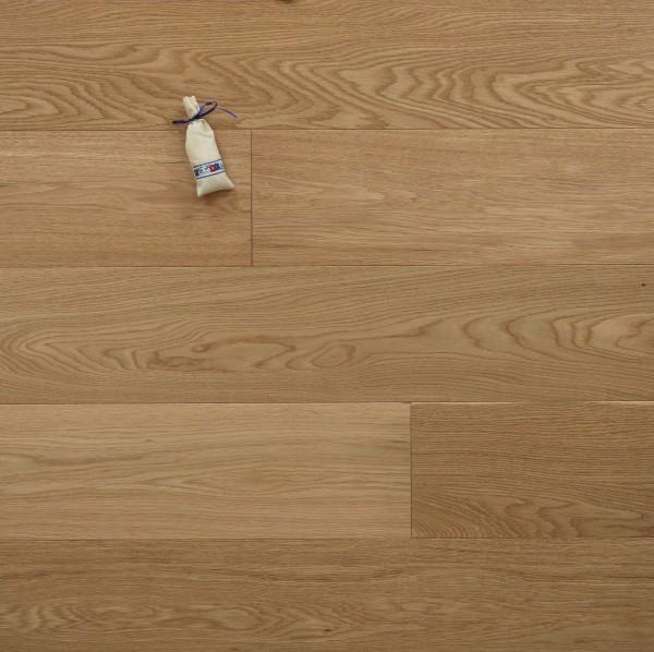 Parkettboden Eiche Exquisit aus der Serie Villa, 14 x 190 x 1900 mm, Select, gebürstet, mit einem Naturöl geölt, Drop Down Klick Verbindung, Sonderanfertigung