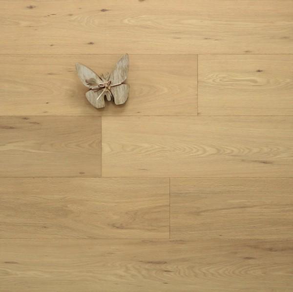 Parkettboden Eiche Großglockner aus der Serie Mountain, 15 x 190 x 1900 mm, Markant, mit einem Naturöl leicht weiß geölt, Drop Down Klick Verbindung