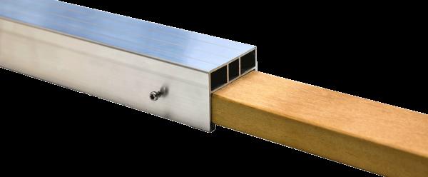 Steckverbindung aus Hartholz für unser 38 x 58 mm Aluminium Unterkonstruktionsprofil