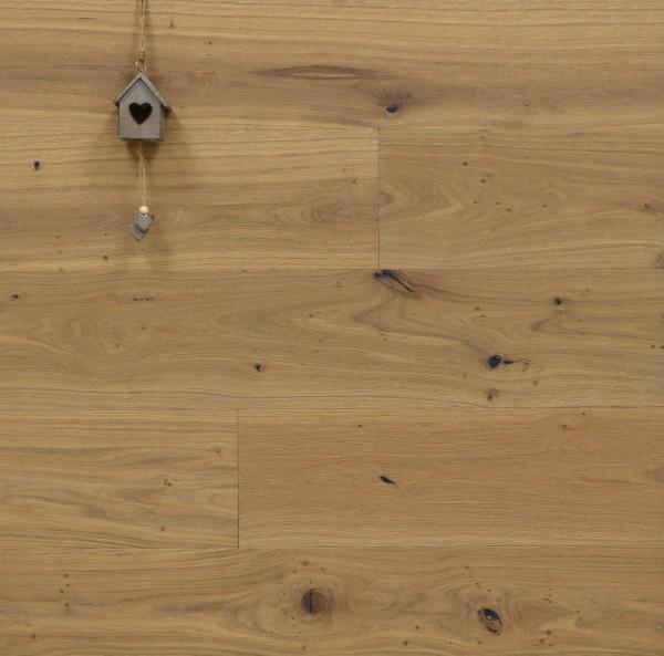 Parkettboden Eiche Gourdon aus der Serie Provence, 14 x 190 (220) x 1900 (2200) mm, gebürstet, mit Rubio Monocoat R326a Smoke leicht weiß geölt, Välinge 5G Klick Verbindung, Sonderanfertigung nach Kundenwunsch