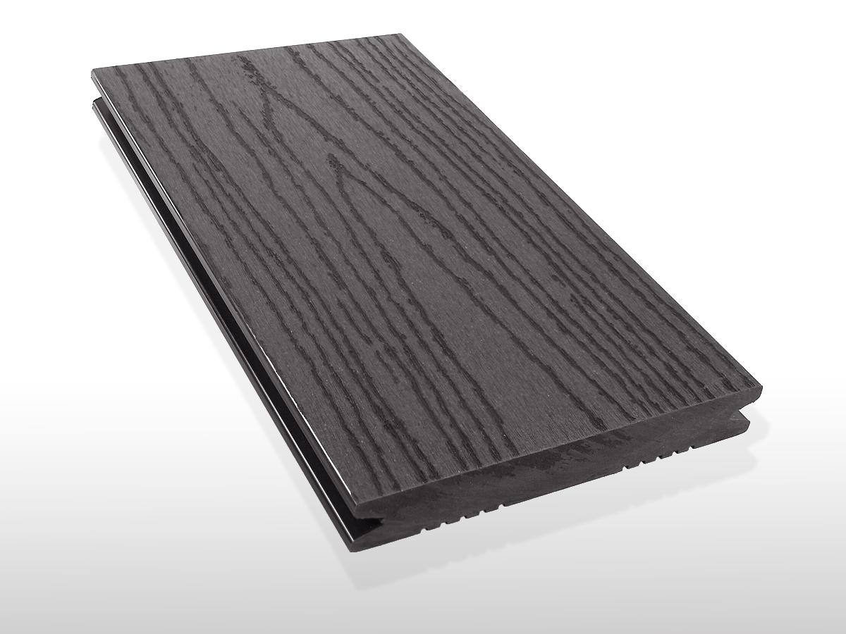 Restposten WPC Dielen massiv, Oberfläche mit Struktur in Holzoptik, Farbton dunkelgrau, Vollprofil, 22 x 143 bis 4800 mm für 7,80 €/lfm