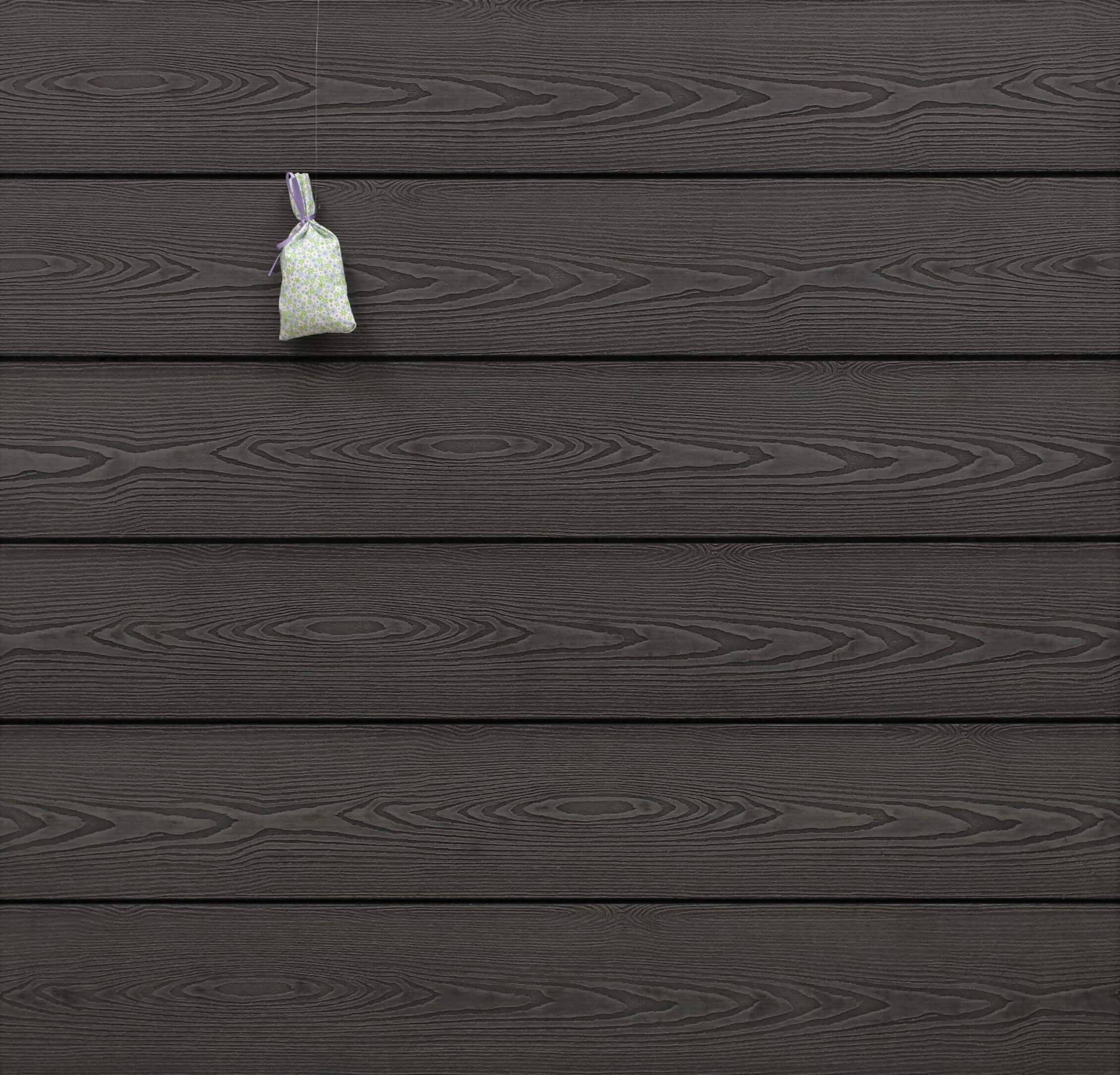 WPC Dielen massiv, Oberfläche mit 3D Struktur in Holzoptik, Farbton dunkelgrau, Vollprofil, 22 x 143 bis 4800 mm für 7,95 €/lfm