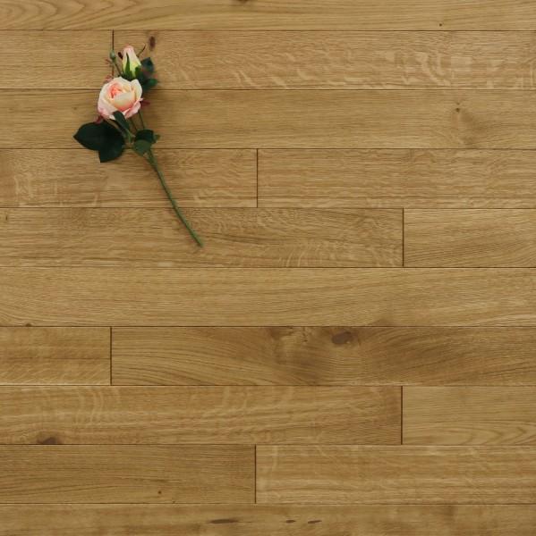 Dielenboden Eiche, 10 x 100 mm, Systemlängen von 400 bis 1200 mm, mit einem Naturöl geölt, massiv, Kanten gefast, Nut / Feder Verbindung, Sonderanfertigung nach Kundenwunsch