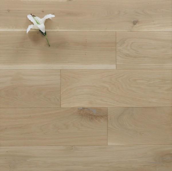Dielenboden Eiche, 20 x 200 mm, Langdielen von 1800 bis 2200 mm, optional in Fixlänge, roh bzw. unbehandelte Oberfläche, massiv, Nut / Feder Verbindung, Sonderanfertigung nach Kundenwunsch