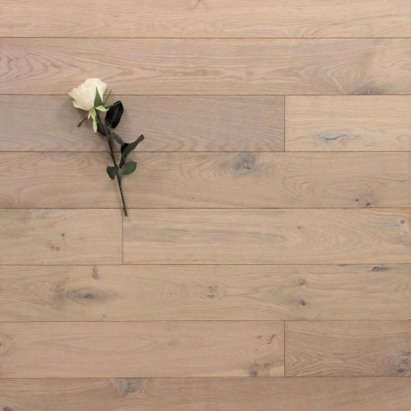 Parkettboden Eiche Cappuccino aus der Serie Piccolo, 10 x 125 x 600-1900 mm, Markant, mit einem Naturöl weiß geölt, Nut / Feder Verbindung