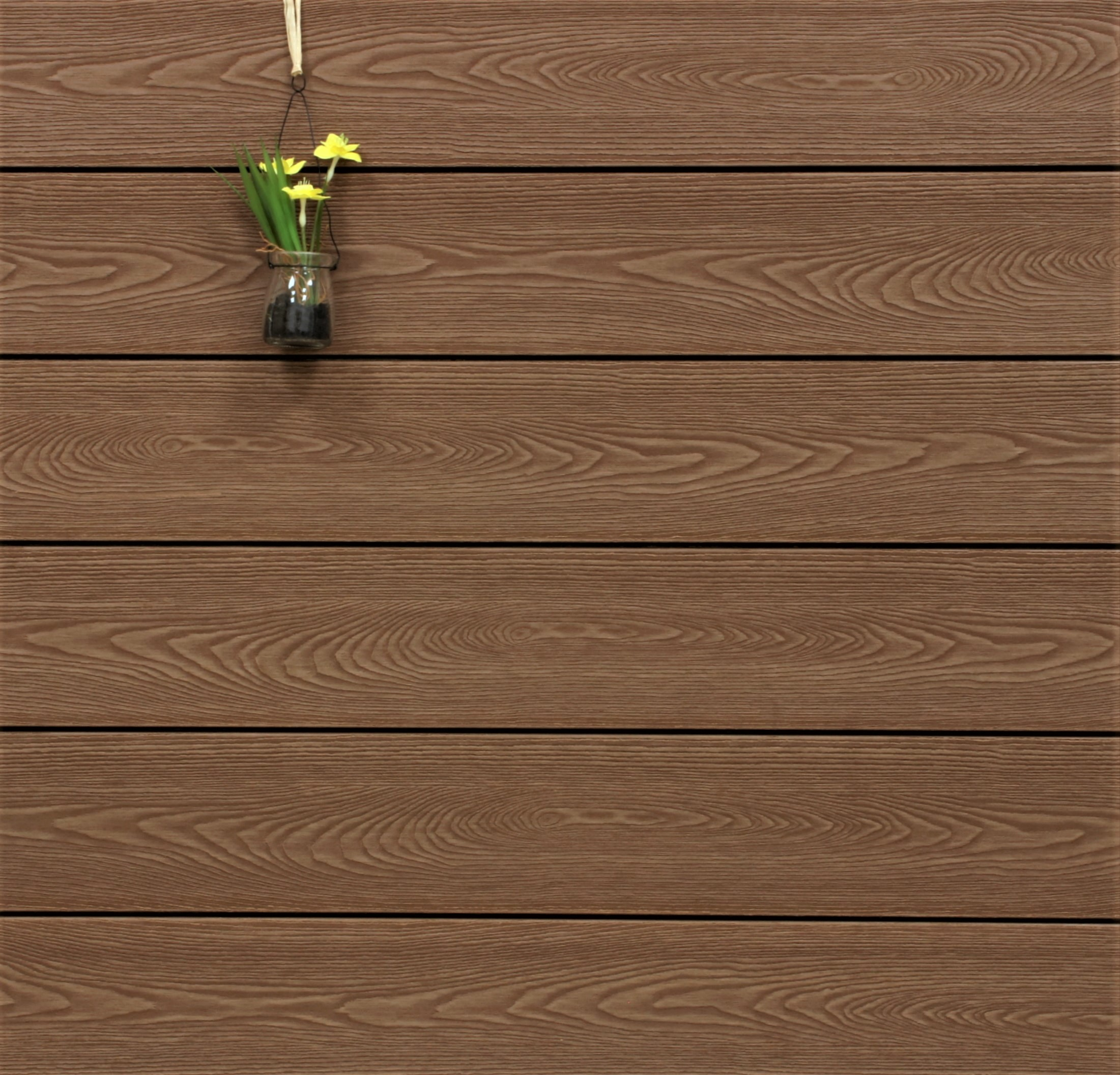 WPC Dielen massiv, Oberfläche mit Struktur in Holzoptik, Farbton braun, Vollprofil, 22 x 143 bis 4800 mm für 8,90 €/lfm