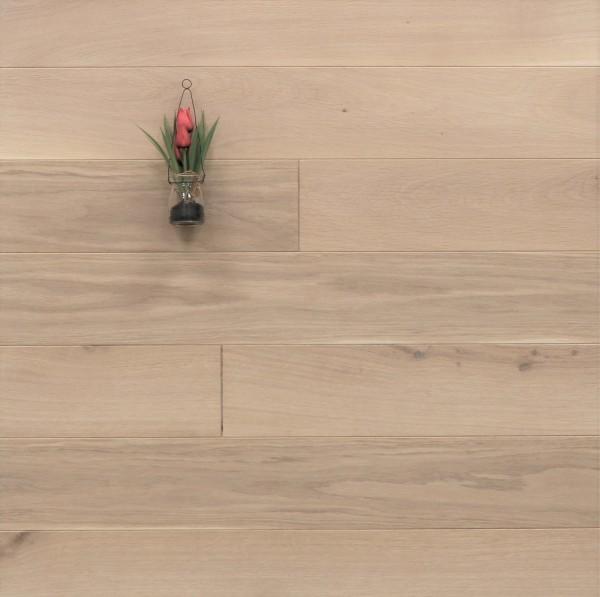 Dielenboden Eiche, 20 x 140 mm, Systemlängen von 500 bis 2000 mm, mit einem Naturöl weiß geölt, massiv, Kanten gefast, Nut / Feder Verbindung, Sonderanfertigung nach Kundenwunsch