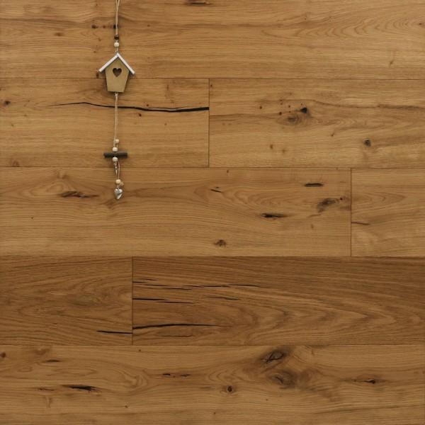Parkettboden Eiche Mega aus der Serie Slim, 10 x 190 x 1900 mm, Rustikal, mit einem Naturöl geölt, Nut / Feder Verbindung