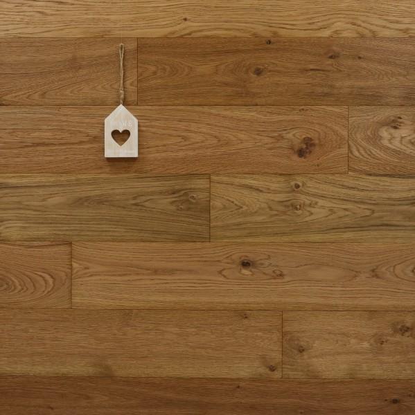 Parkettboden Eiche Espresso aus der Serie Piccolo, 10 x 125 x 600-1900 mm, Markant, gebürstet, mit einem Naturöl geölt, Nut / Feder Verbindung