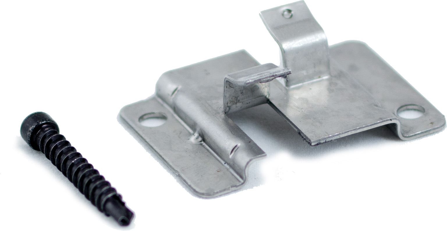 WPC Befestigungsclips aus Edelstahl, 100 Stück pro Verpackung inkl. Schrauben, ausreichend für ca. 5 m² bzw. 35 lfm.