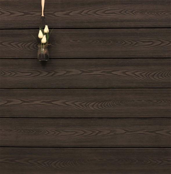 WPC Terrasse massiv, Vollprofil, 22 x 143 bis 4800 mm, Oberfläche mit Struktur in Holzoptik, bicolor im Farbton Thermoesche, 10,90 €/lfm