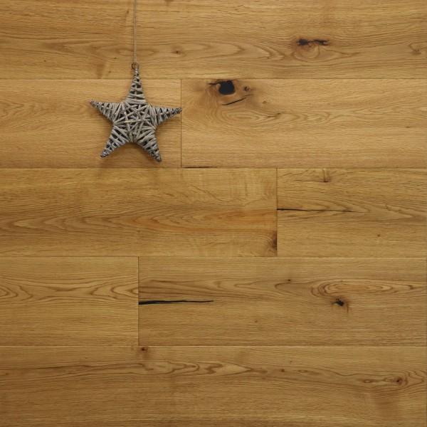 Parkettboden Eiche Watzmann aus der Serie Mountain, 15 x 190 x 1900 mm, Markant, handgehobelt, mit einem Naturöl geölt, Drop Down Klick Verbindung