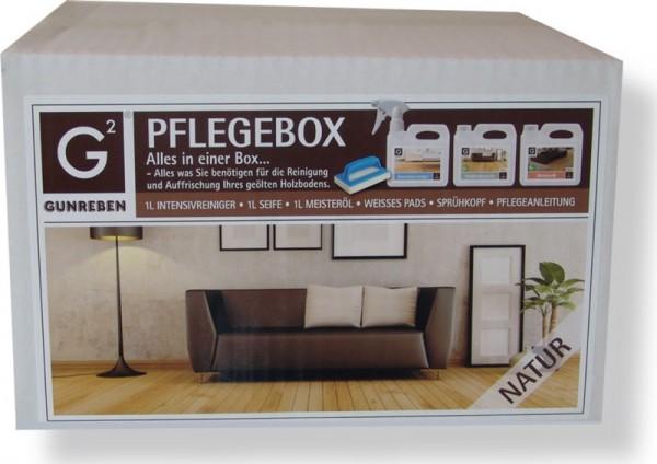 Gunreben Pflegebox in natur, Komplettset mit je 1,0 Liter Intensivreiniger, Öl und Seife für geölte Holzböden