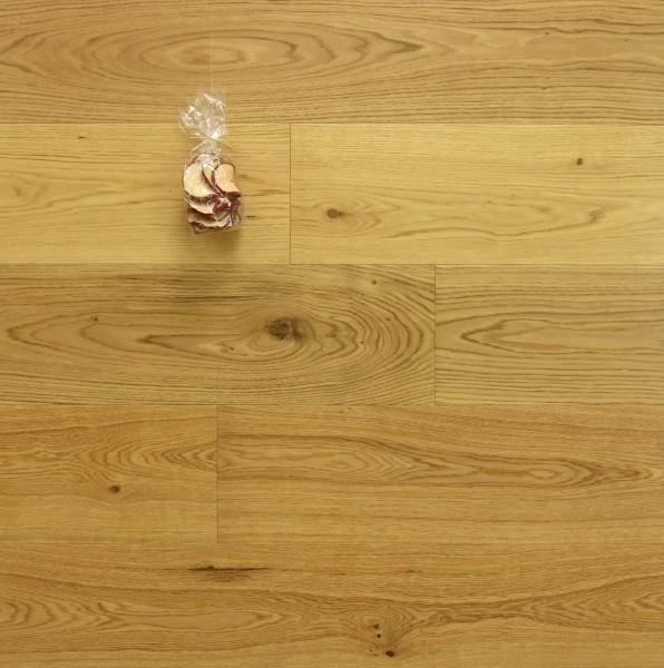 Parkettboden Eiche Ortler aus der Serie Mountain, 15 x 190 x 1900 mm, Markant, seidenmatt lackiert, Drop Down Klick Verbindung