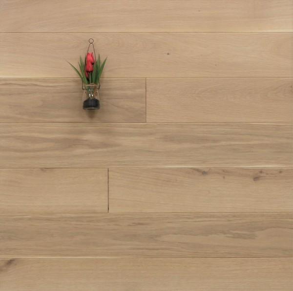 Dielenboden Eiche, 20 x 140 mm, Langdielen von 1800 bis 2200 mm, optional in Fixlänge, mit einem Naturöl weiß geölt, massiv, Nut / Feder Verbindung, Sonderanfertigung nach Kundenwunsch